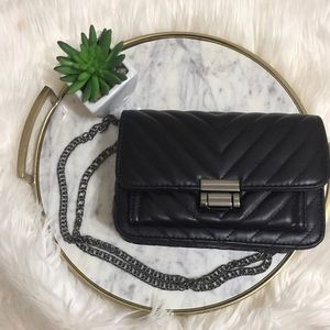 Quilted Chains Black Crossbody Bag